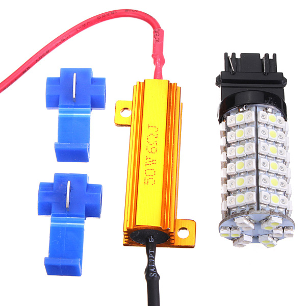 Lowest Price T25 3157 Dual Color Switchback White Amber 120 LED Car Auto Turn Signal Light Lamp Bulbs with Resistors(China (Mainland))
