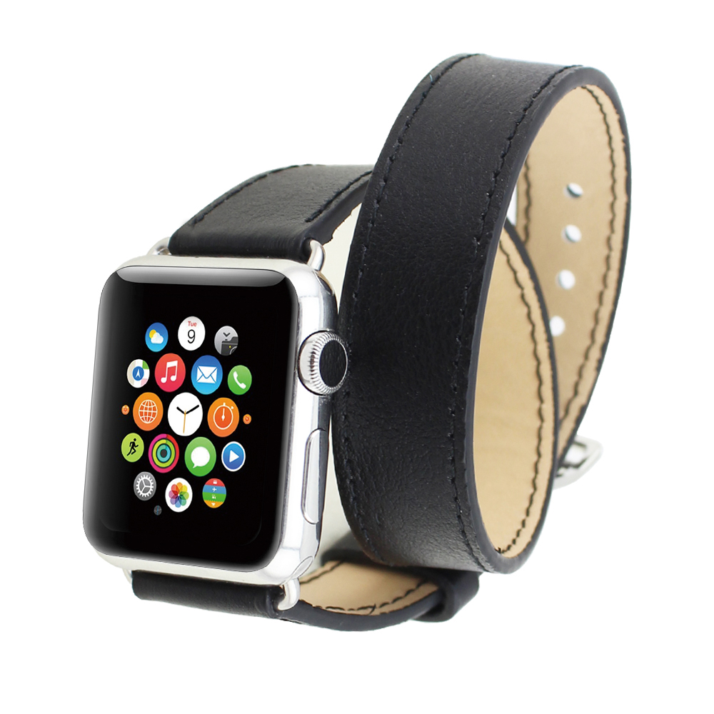 High quality Fashion Double Tour Loop Long Genuine Leather Bracelet Watchband Strap For Apple Watch(China (Mainland))