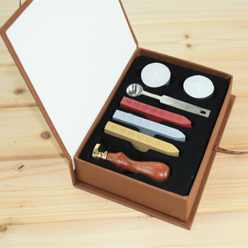 Vintage wood Alphabet Badge Seal Stamp Wax Kit Set Craft Ink Pad Sealing wax spoon wedding for wedding invitations,Envelope(China (Mainland))