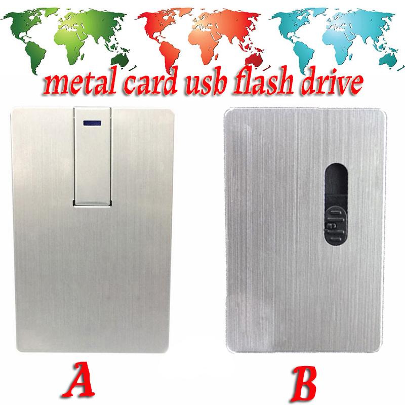 Fashion many styles Waterproof Super Slim Credit Card Metal USB Flash Drives 64GB 32G 16GB 8GB 4G Pen Thumb drive(China (Mainland))