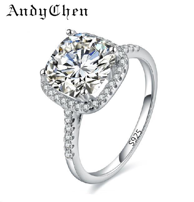 -de-mariage-d-argent-pour-femmes-carré-diamants-Simulator-anneau ...