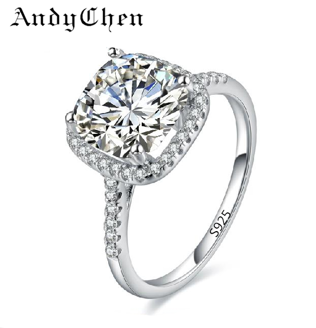 Sterling Silver Wedding Rings For Women Square Diamonds Simulator Ring