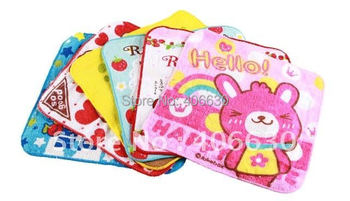 cotton children cartoon square hand towel, 20*20cm, Wedding/Party gift towel for kids, free shipping