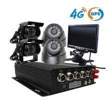 Free Shipping 4CH Vehicle Car DVR Kit 4G GPS Track H.264 G-sensor PC Phone Real-time View Back Incar CCTV Camera + Car Monitor(China (Mainland))