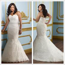 Free shipping LF-843 Elegant Plus size Mermaid Sweetheart Beaded Pleat Lace Write/Ivory Wedding Dress Custom-made(China (Mainland))