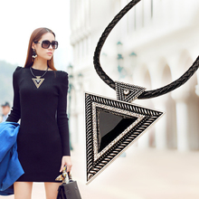 Free Shipping New 2015 Hot Pendant Necklace Fashion Chokers Statement Necklaces Triangle Pendants Rope Chain for Gift Party(China (Mainland))