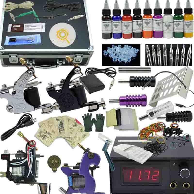 OPHIR Pro 4 Machine Tatto Kit Motor Guns Set 9 Colors Pigment Inks Nozzles Needles Complete Tattoo Kit with Aluminum Box_TA007(China (Mainland))