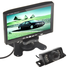 7 Inch TFT LCD Color Display Screen Car Rear View DVD VCR Monitor+7IR LED Lights Night Vision Rearview Reverse Reversing  Camera(China (Mainland))