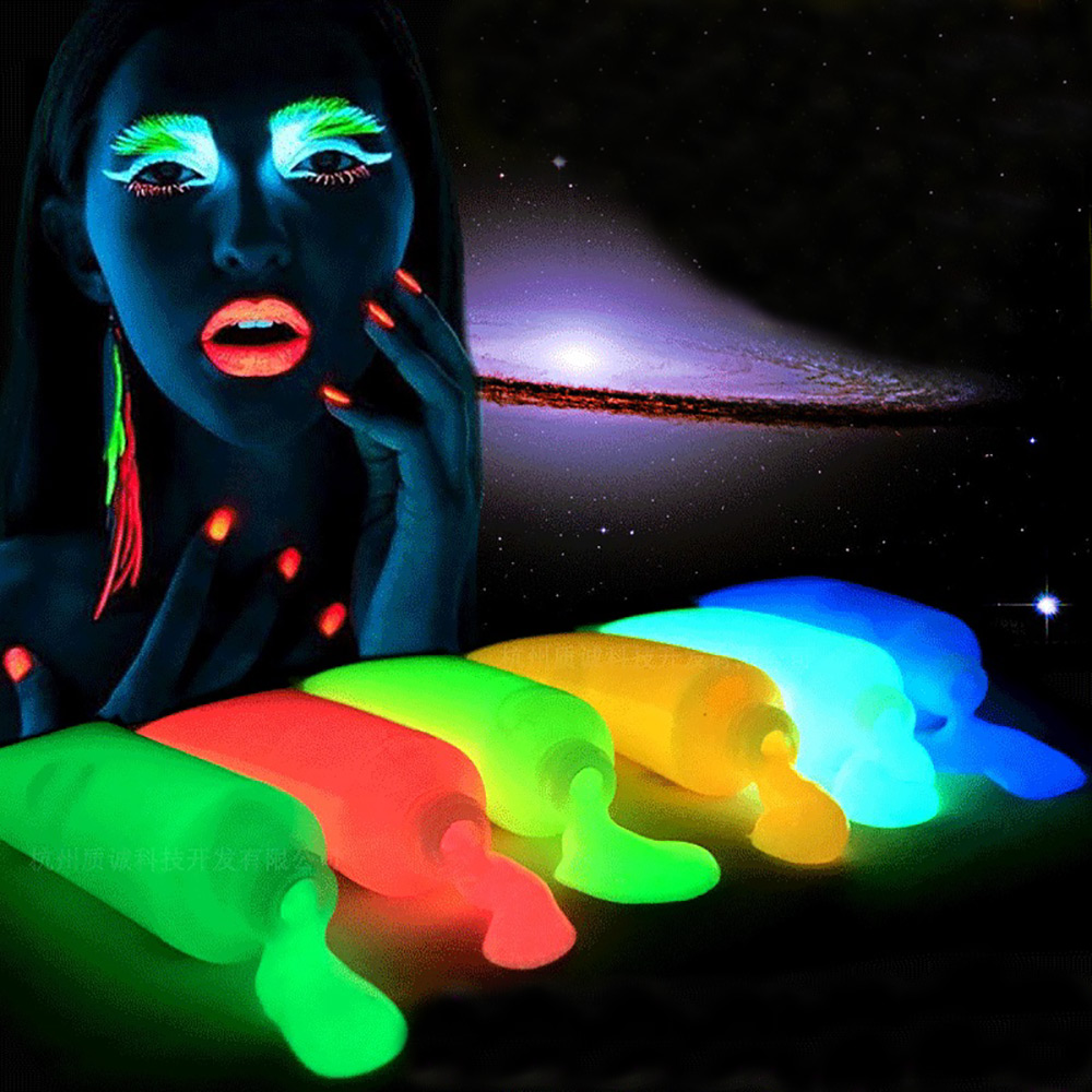 5 Colors Neon Fluorescent UV Body Paint Grow In The Dark Face Painting Luminous Acrylic Paints Art for Party&Halloween Make Up(China (Mainland))