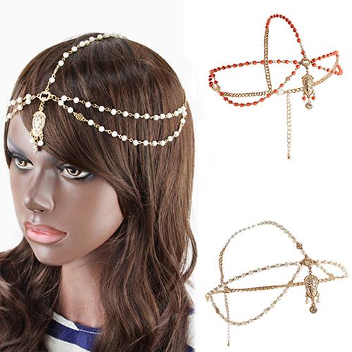 Bluelans Ethic Gold Tikka Multi Pearl HeadChain Bead Headband Hair Jewelry for Women(China (Mainland))
