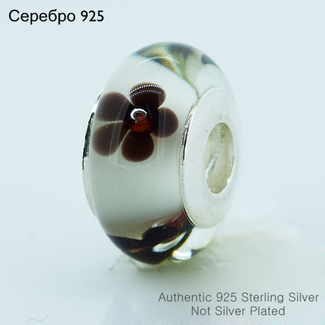 925-Sterling-Silver цветок муранского стекла бусины женщин DIY ювелирных изделий подходит европейский бренд браслет 12607C