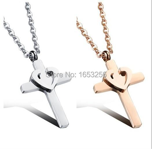 Newest design SILVER/ Rose Gold Stainless Steel Heart Cross Necklace Pendant 18'' For Wife .Girlfriend Holiday Gifts(China (Mainland))