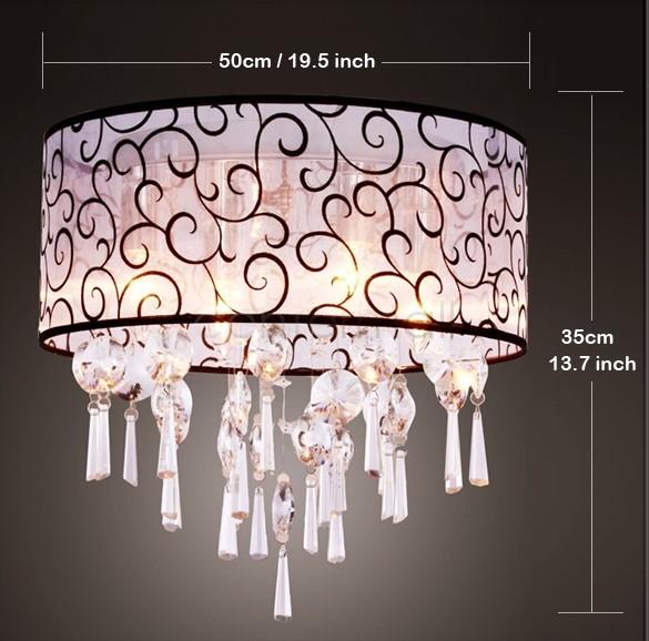 Vintage Style Transparent Beads Pendant Crystal 4 Light Bulbs Lamp Chandelier Living Room Lighting US25(China (Mainland))