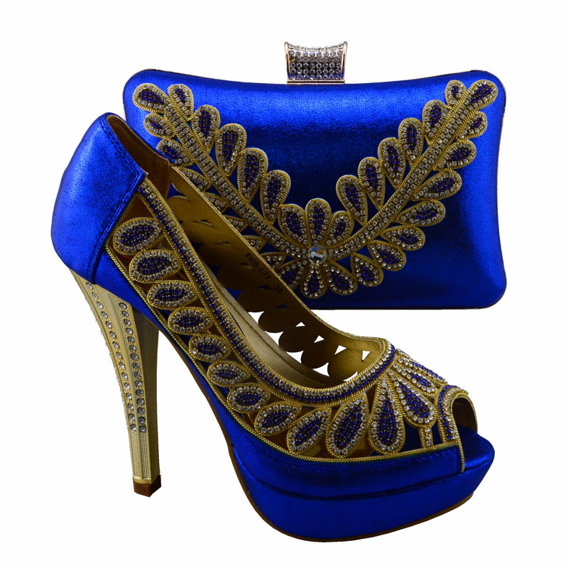 1308-L71 Royal Blue Wonderful design Italian style shoes matching bags series,Nice lady shoes and handbag sets for party