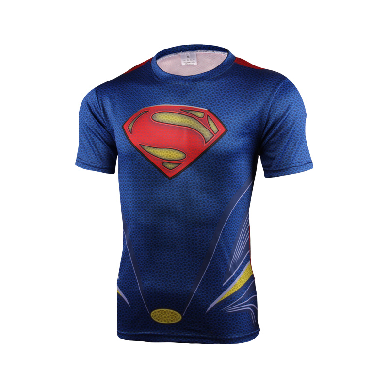 2016 t-shirts, superman, batman, spider-man and captain America, hulk, iron man/T-shirt man fitness shirt man's T-shirt M - 4 xl(China (Mainland))