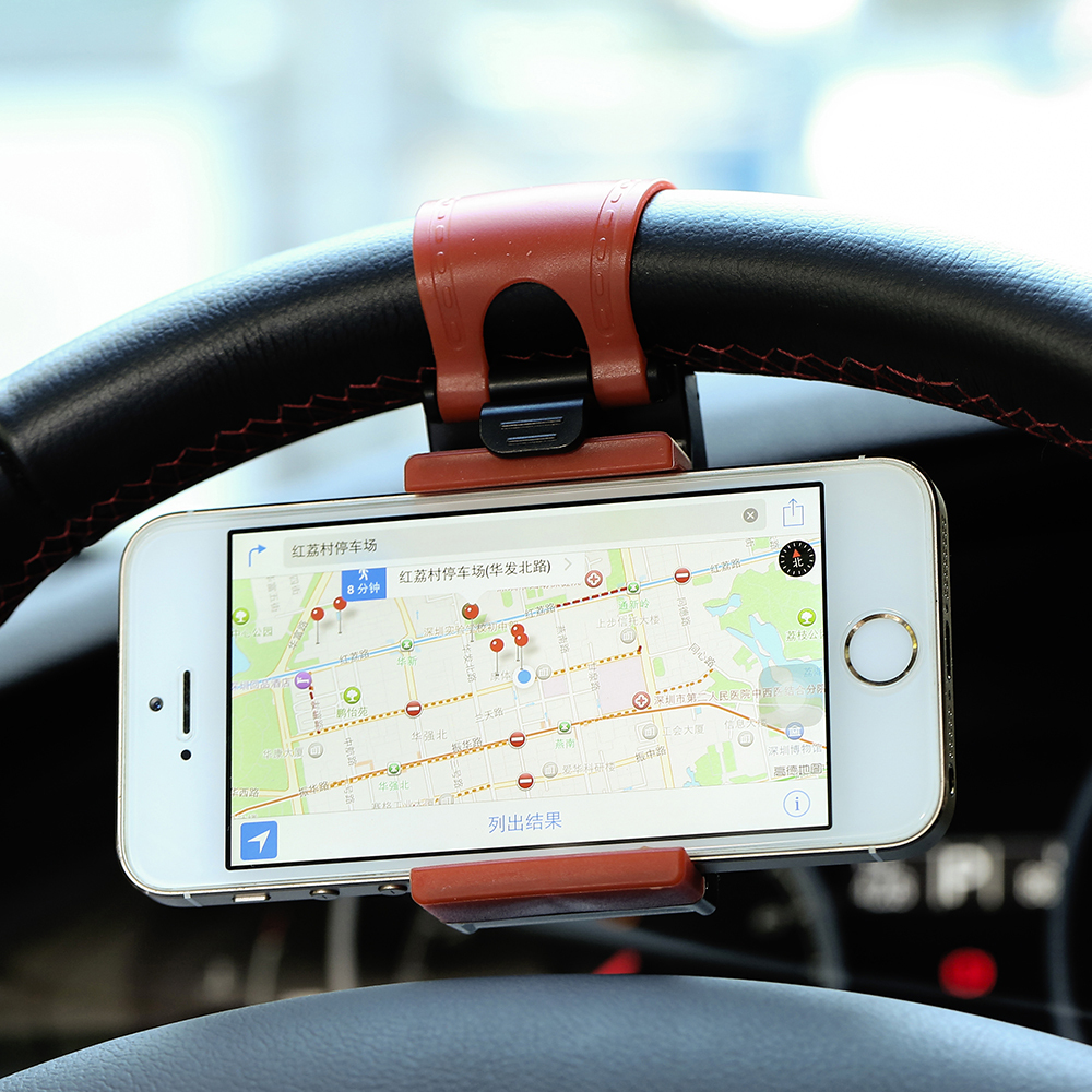 Universal Car GPS Navigate Stand Steering Wheel Phone Clip Holder Case for iPhone 4 5 6 6s for Samsung S4 S5 S6 Edge for LG, etc(China (Mainland))