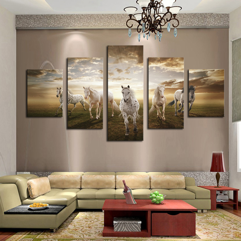 5 Panel Art Animal horse painting print on canvas wall art picture paiting home decor for living room Giveaways wall sticker(China (Mainland))
