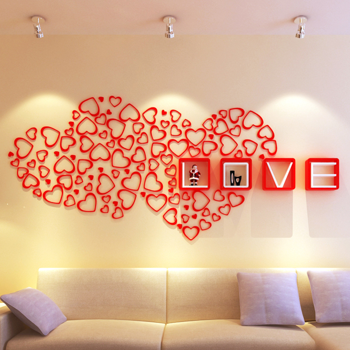 New 3 SET 3D Warm Heart Love Wall Decor New Wedding House Wall Stickers For Home Decoration (1set=5pcs)