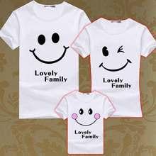 Summer Matching Family T Shirt Set Mon Mother Daughter Matching T Shirts Kids Lovely Smile Tees Boys Men Women T-shirts Clothing