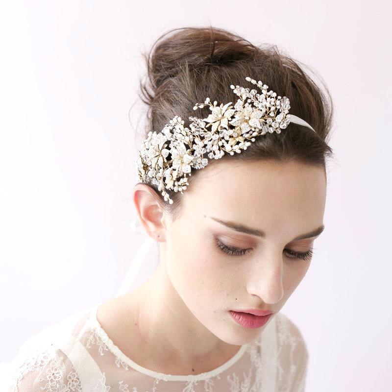 Wedding Hair Jewellery : Wedding head hairbands bride crystal pearls beaded
