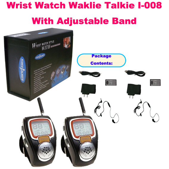 Unique 2PCS Wrist Watch Walkie Talkie I-008 With Adjustable Band(USA:22 Channel,Europe:8 Cahnnels)(China (Mainland))