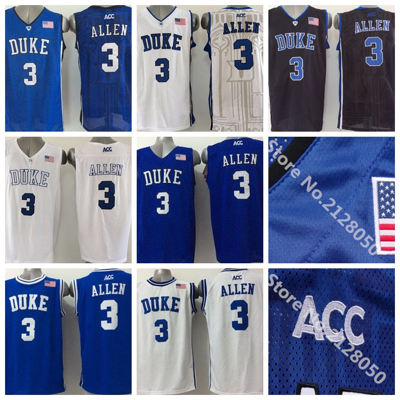 2016 Newest 3 Grayson Allen Jersey Duke Blue Devils College Basketball Jersey Black White ACC Logo Stitched Top Quality Hot Sale(China (Mainland))