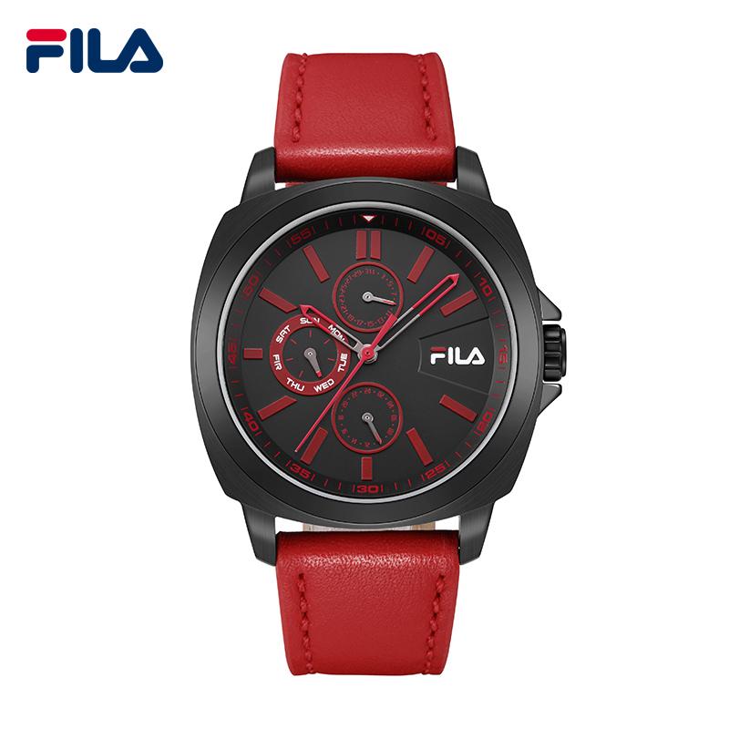 Фотография Fila Top Luxury Brand High-Quality Fashion 3 Timer Circles Leather Strap Quartz Sports Men Watch Waterproof Wristwatch 38-789