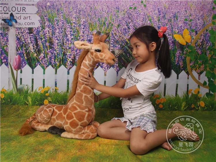 about 55x44cm giraffe plush toy simulation lying giraffe doll ,birthday gift w5896(China (Mainland))