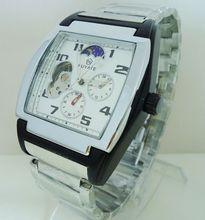 Fuyate cuadrados mens reloj mecánico reloj para hombre banda de acero reloj de moda muchachos j024 totalmente automáticos