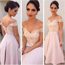 2016 Chiffon Lace Pink Short Bridesmaid Dress Off Shoulder Satin Knee Length Maid Of Honor Dress Cheap Wedding Party Gowns BD17(China (Mainland))
