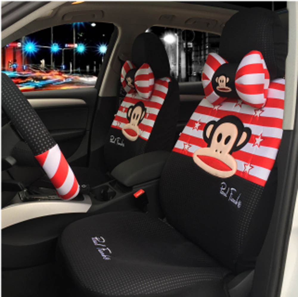Hot sale cartoon 18pcs ice silk car seat cover set car steering wheel cover universal car seat cushion(China (Mainland))