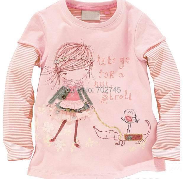 Здесь можно купить  Wholesale 2014 Autumn Girls T-shirts 5071 Girls Dogs Stripe Cartoon Cotton Long Sleeve T-shirts  Детские товары
