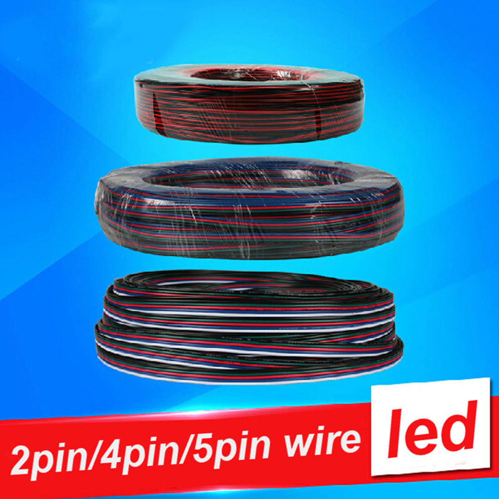 5m/10m 2-Pin 4-PIN 5-PIN 22AWG 5050 3528 LED Strip wire Tinned copper Extend Cable Wire Cord Connector For RGB rgbw single color(China (Mainland))
