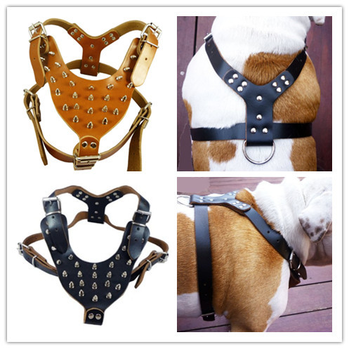 New Fashion Studded Leather Dog Harness For Pitbull Mastiff Spike Pet Harness media dog harness Supplies Free Shipping(China (Mainland))