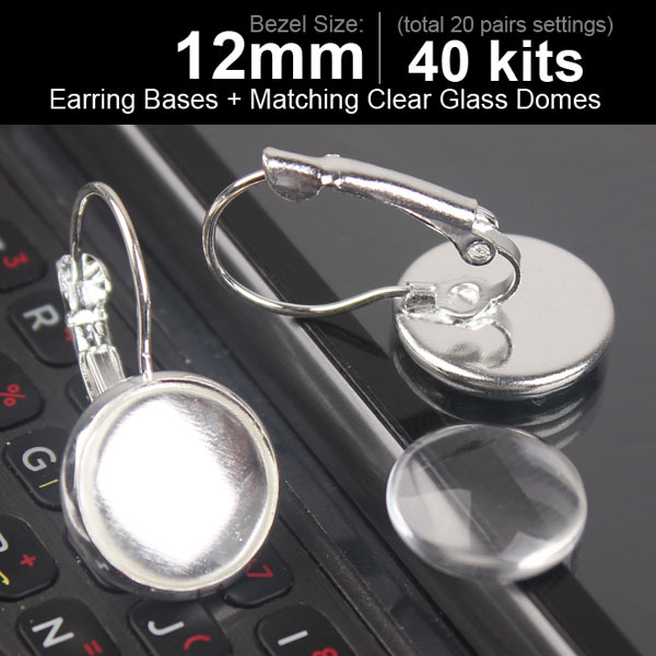 40pcs 12mm Earring Cabochon Setting Sterling Silver Plated Hook Earrings Blanks Back Earring Clasps Earring Blanks(China (Mainland))