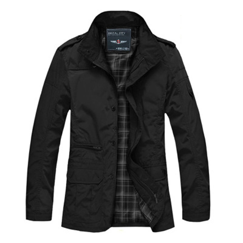 Autumn And Spring Men Casual Jacket Waterproof Thin Polyester Coat Overcoat Outwear Necessary Black Khaki Jacket Plus Size M-5XL(China (Mainland))