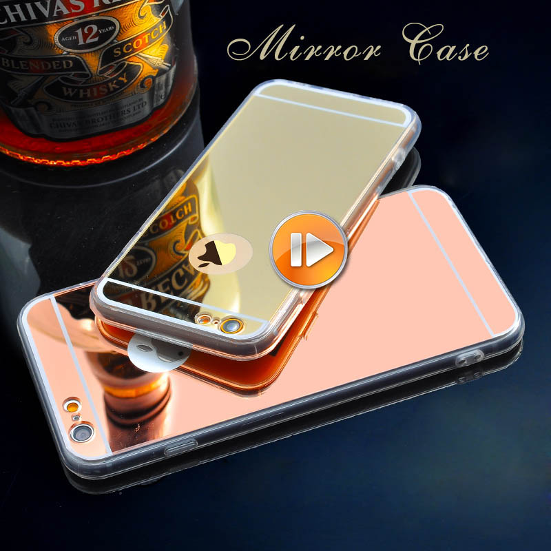 2016 New For Iphone 6 Accessories Discounted TPU Soft Gold Mirror Case for iphone 6 6S 5 5S 6Plus Phone Cases Wholesale F00091(China (Mainland))