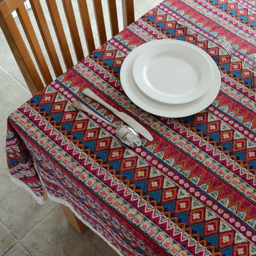 Fluid fabric table cloth dining table cloth tablecloth table cloth gremial towel cover multi-purpose towel national trend red(China (Mainland))