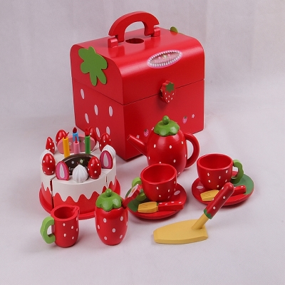 eco-friendly  red water  paint wooden  Afternoon tea chocolate cake  toy  set     children play house   wooden toys  gift<br><br>Aliexpress