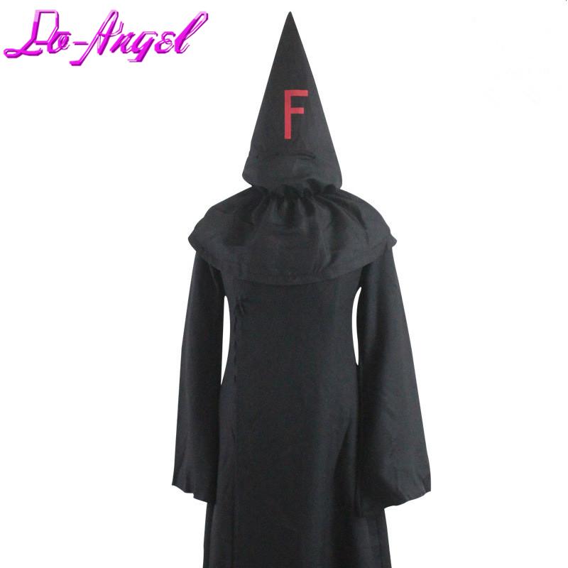 Anime FFF Fatal Fire Fukanzenna Black Hooded Cloak Big fff Baka to Test to Shoukanjuu Mihnah Inquisiton cosplay costume(China (Mainland))