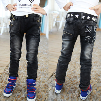 2016 Spring New Children clothing black with patchwork pocket soft boys jeans fashion boy jean fit for age 3-12 years old B141