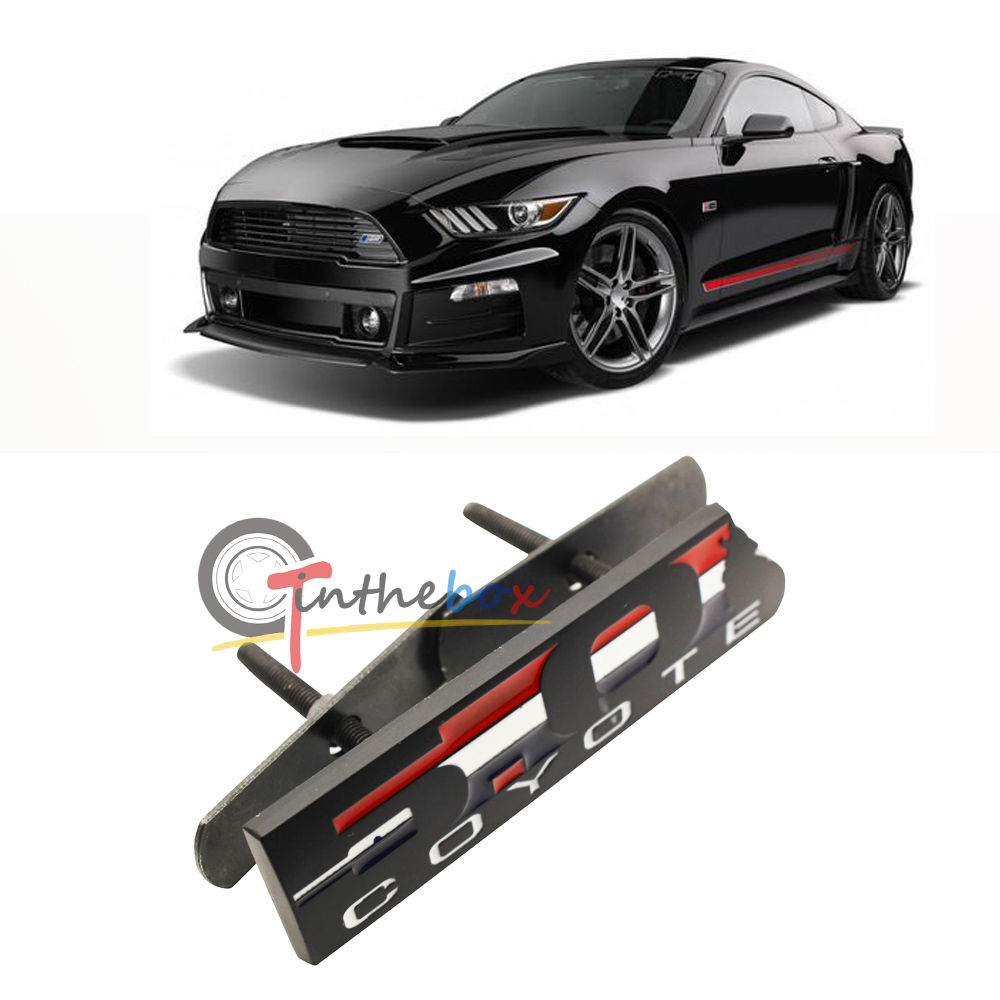1PC Black 5.0 COYOTE Metal Front Grill Grille Emblem Sticker for Ford Mustang(China (Mainland))