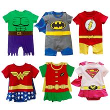 Baby Kostüme Superhero Infant Jungen Mädchen Strampler Tollder Outfit Supergirl Superman Batman-Wonder Woman Hulk Robin Sommer(China (Mainland))
