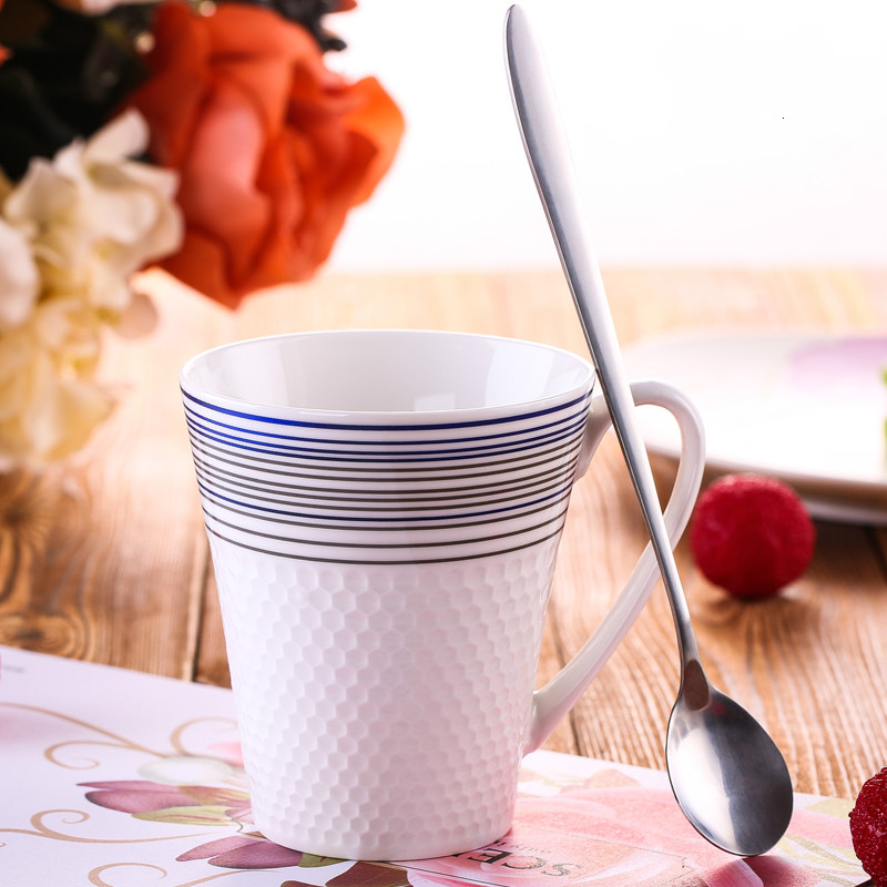 Creative Colorful Drinkware Ceramic Milk Coffee Mug Cup Office Worker Water Cup With Stainless Steel Spoon(China (Mainland))