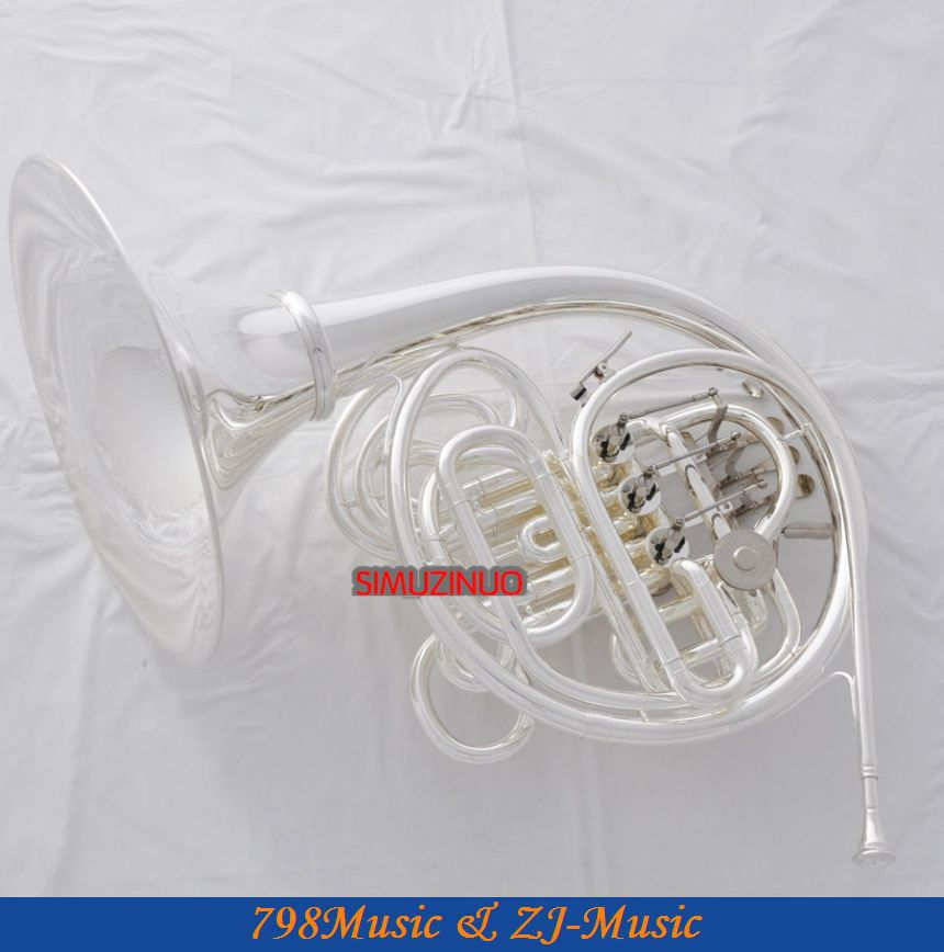 Silver Plated Double French Horn F/Bb 4 Key Brand New with Case(China (Mainland))