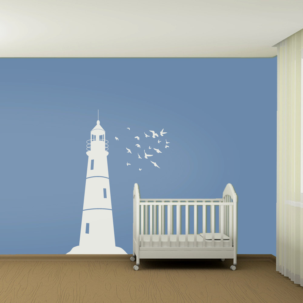aliexpress com buy wall decals kids lighthouse and flock lighthouse measuring tape kids sticker tenstickers