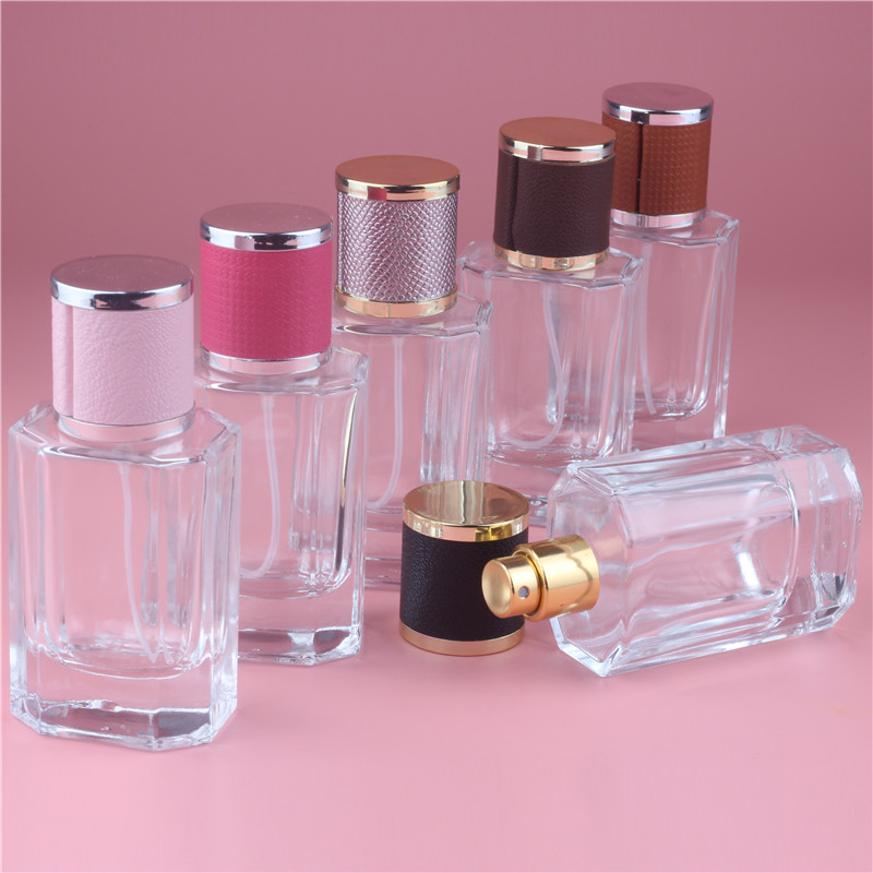 Brand New 40ml Color Cap Clear Glass Spray Refillable Perfume Bottles Glass Automizer Empty Cosmetic Container For Travel(China (Mainland))