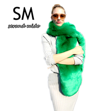 Fashion winter scarf women fur scarf 185cm Green long Scarves & Wraps Apparel Accessories Warm pashmina Width 20cm thickness 4cm