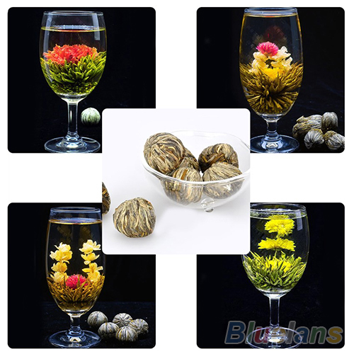 4 Balls Chinese Artisan Different Handmade Blooming Flower Green Tea 02M3 2NDV