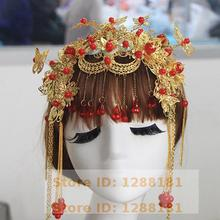 Chinese Bride Headdress Costume Dress Accessories Clothes Kimono Coat Hair Show Dragon And Phoenix Coronet(China (Mainland))